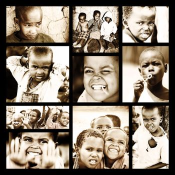 AFRICA, KENYA - NOV 8: portrait of African Kids of Masai Mara tribal village, reportage about poor homeless children life near Masai Mara National Park Reserve on November 8, 2008, Kenya, Africa