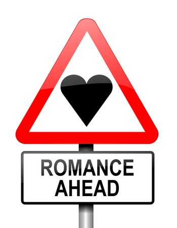Illustration depicting red and white triangular warning road sign with a romance concept. White background.