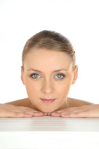 Beauty shot of a woman's face and hands