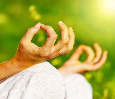 Yoga meditation outdoor, healthy female in peace, soul and mind zen balance concept
