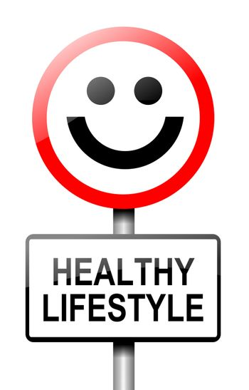 Illustration depicting a road traffic sign with a healthy lifestyle concept. White background.