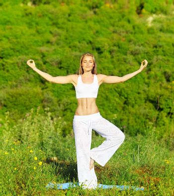 Healthy yoga woman exercising outdoor, fitness & sport lifestyle concept
