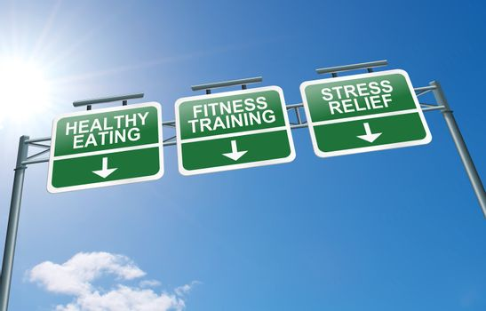Illustration depicting a highway gantry sign with a healthy lifestyle concept. Blue sky background.