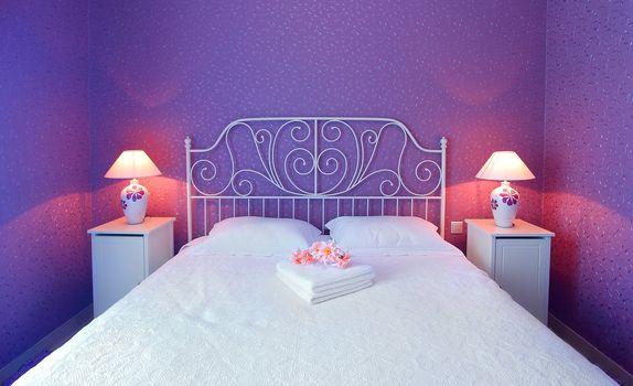 Romantic bedroom luxury interior design with warm light