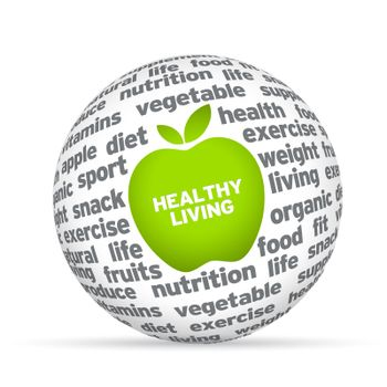 Healthy lifestyle 3d sphere on white background.