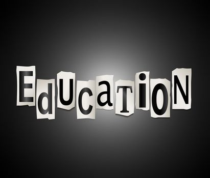 Illustration depicting cut out letters arranged to form the word education.
