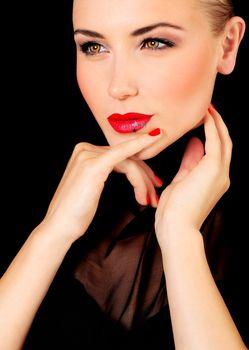 Beautiful glamour female portrait, fashionable stylish makeup decorated with stars