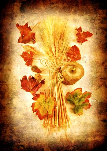 Grunge autumn background with dry leaves & candle