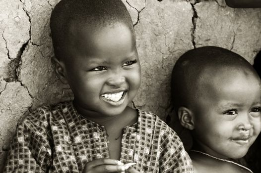 Portrait of African kids smiling. Editorial use only