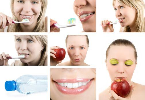 Beautiful woman and healthy teeth. Dental health. Collage.