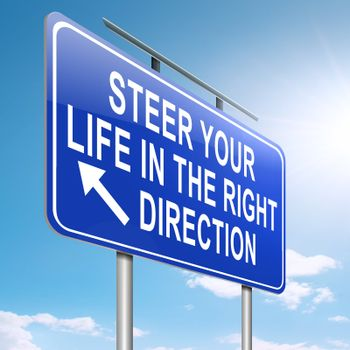 Illustration depicting a roadsign with a life direction concept. Sky background.