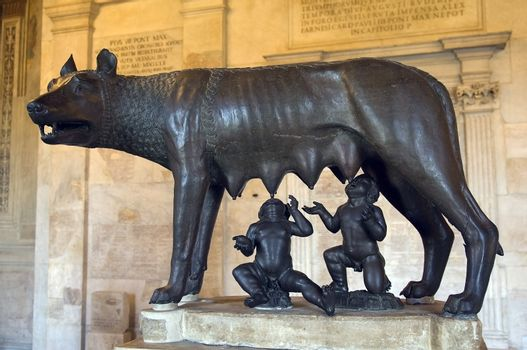 ancient roman bronze of the she-wolf suckling romulus and remus the traditional founders of the city and empire of rome at the UNESCO listed basilica of Aquileia