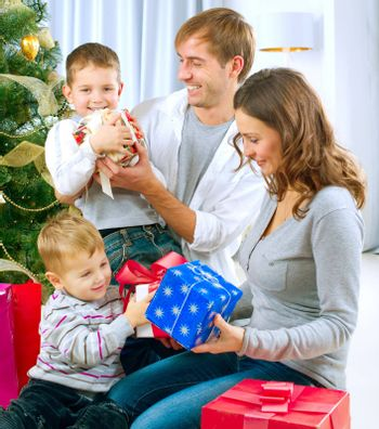 Christmas Family with Gifts