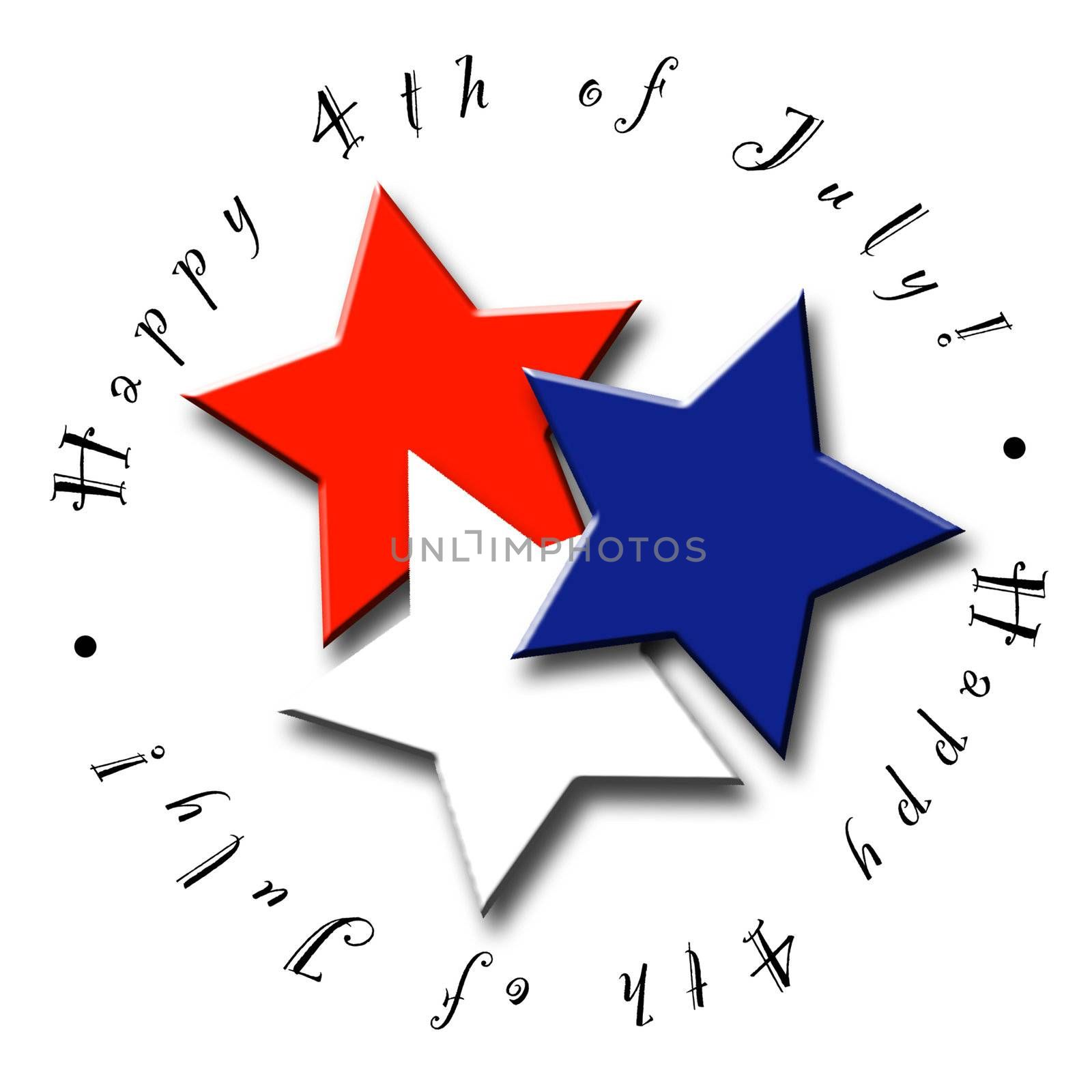 A Red, White and Blue icon or button for the Fourth of July - Perfect for a Calendar