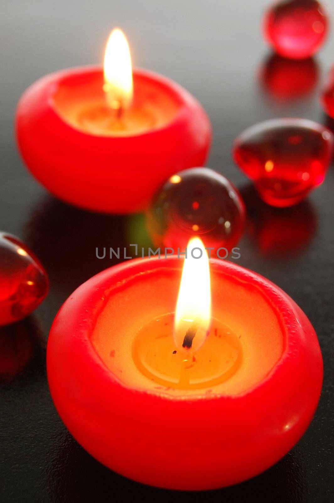 love or romance concept with red candles