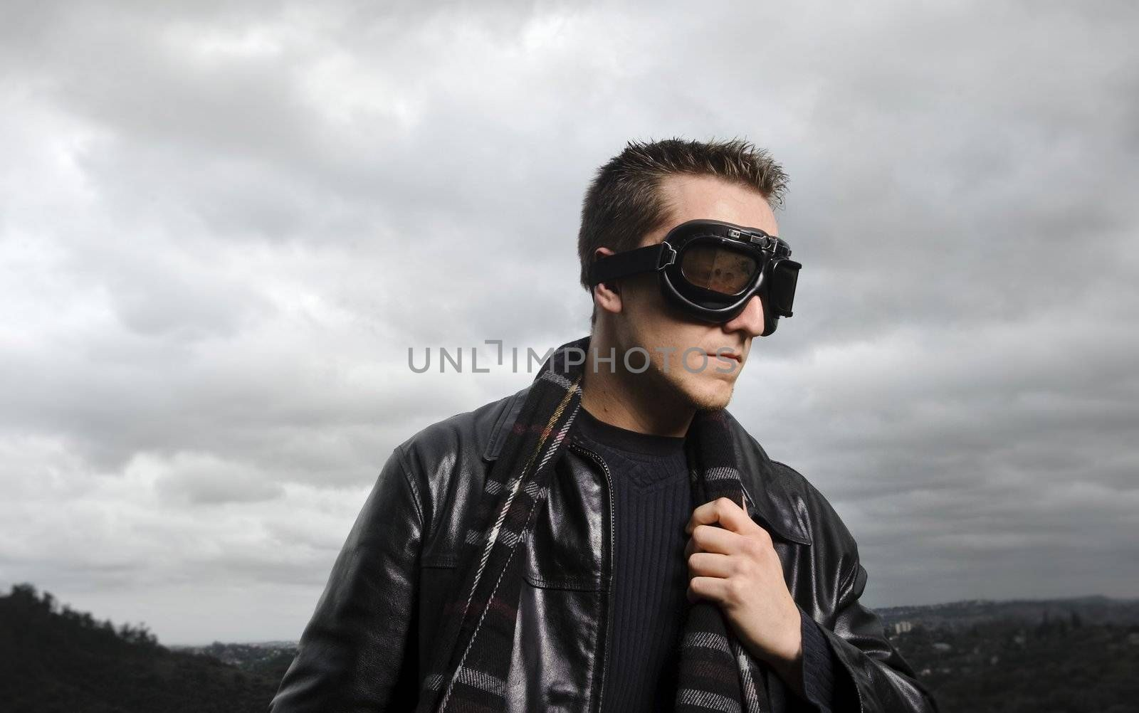 Male model poses as a pilot