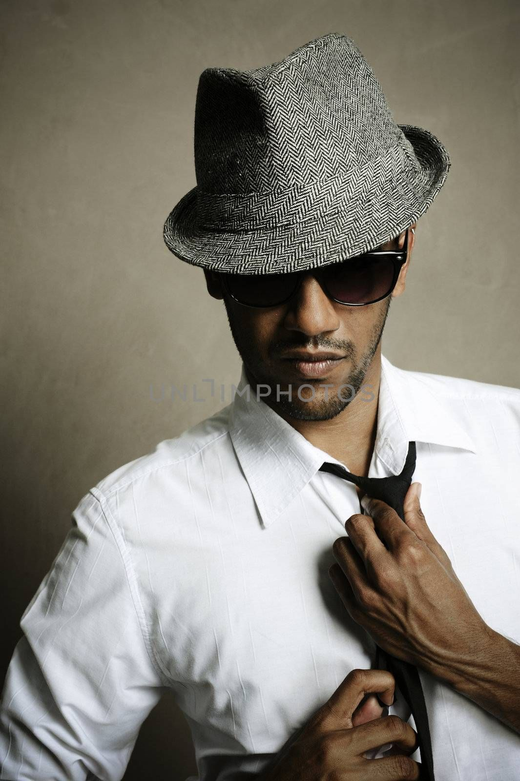 Fashion model shows off his tie, sunglasses and fedora