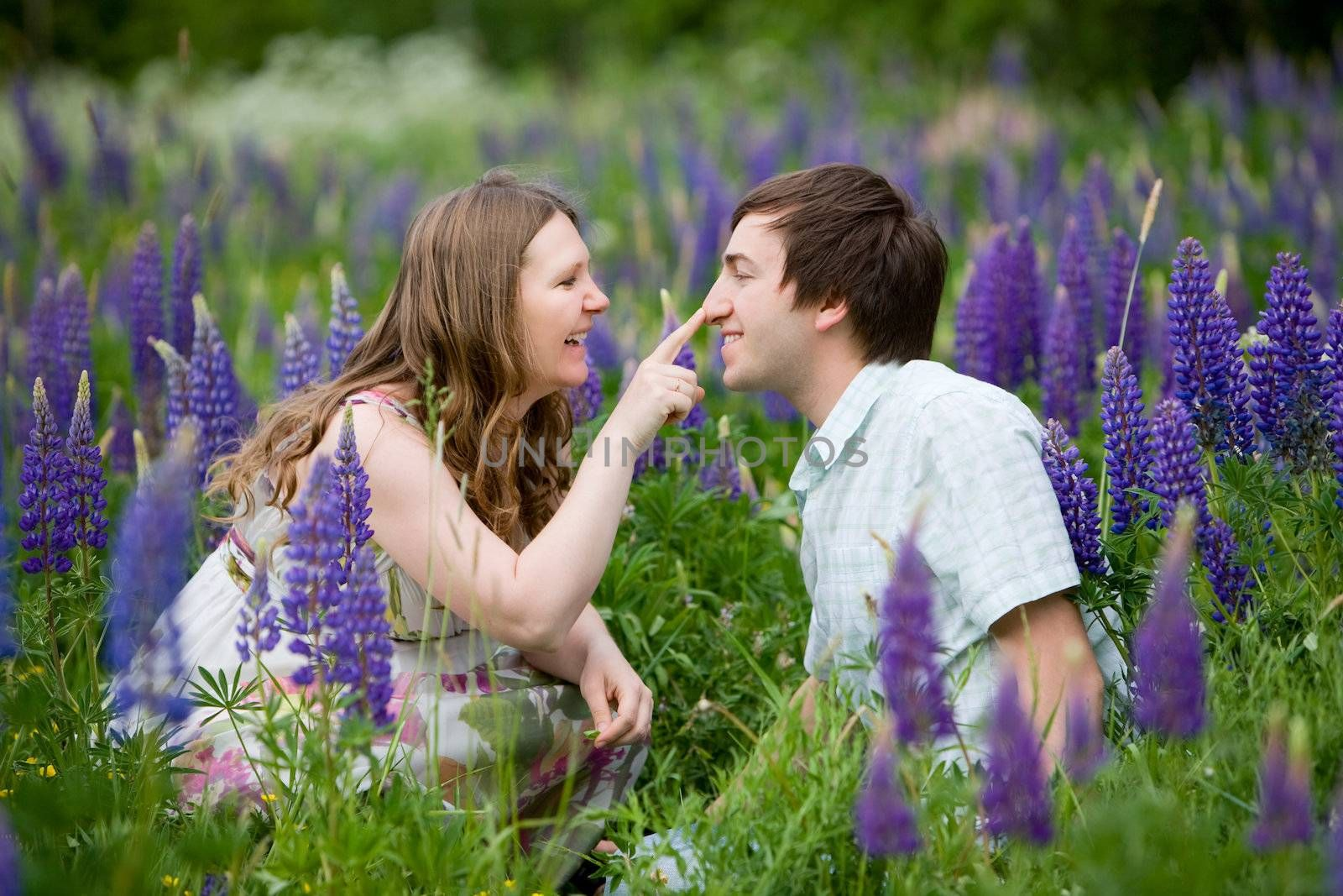Romantic photo of young attractive couple