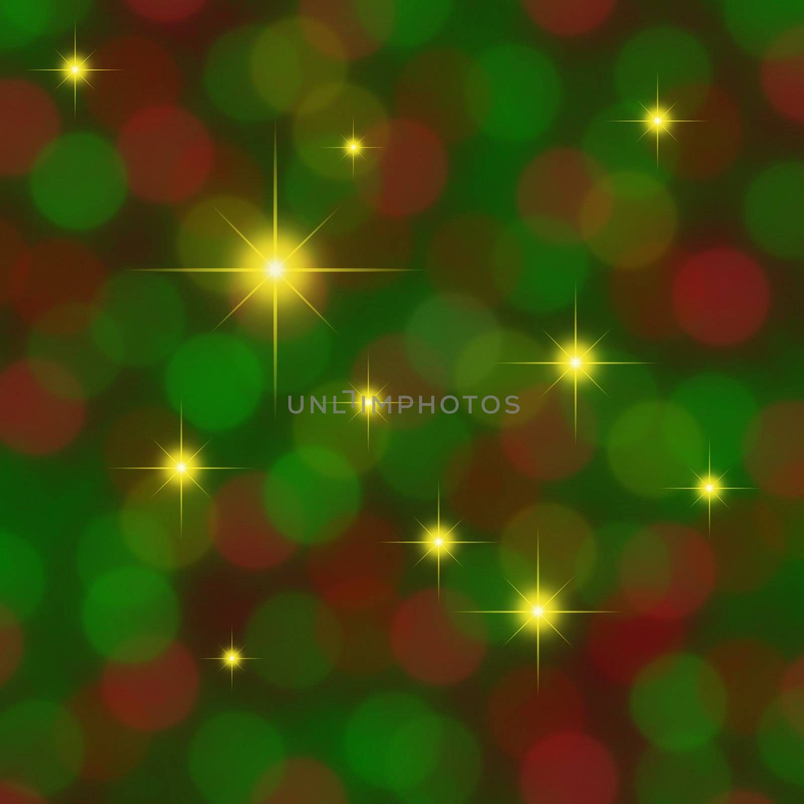 Red and green blurred background with golden stars twinkling through