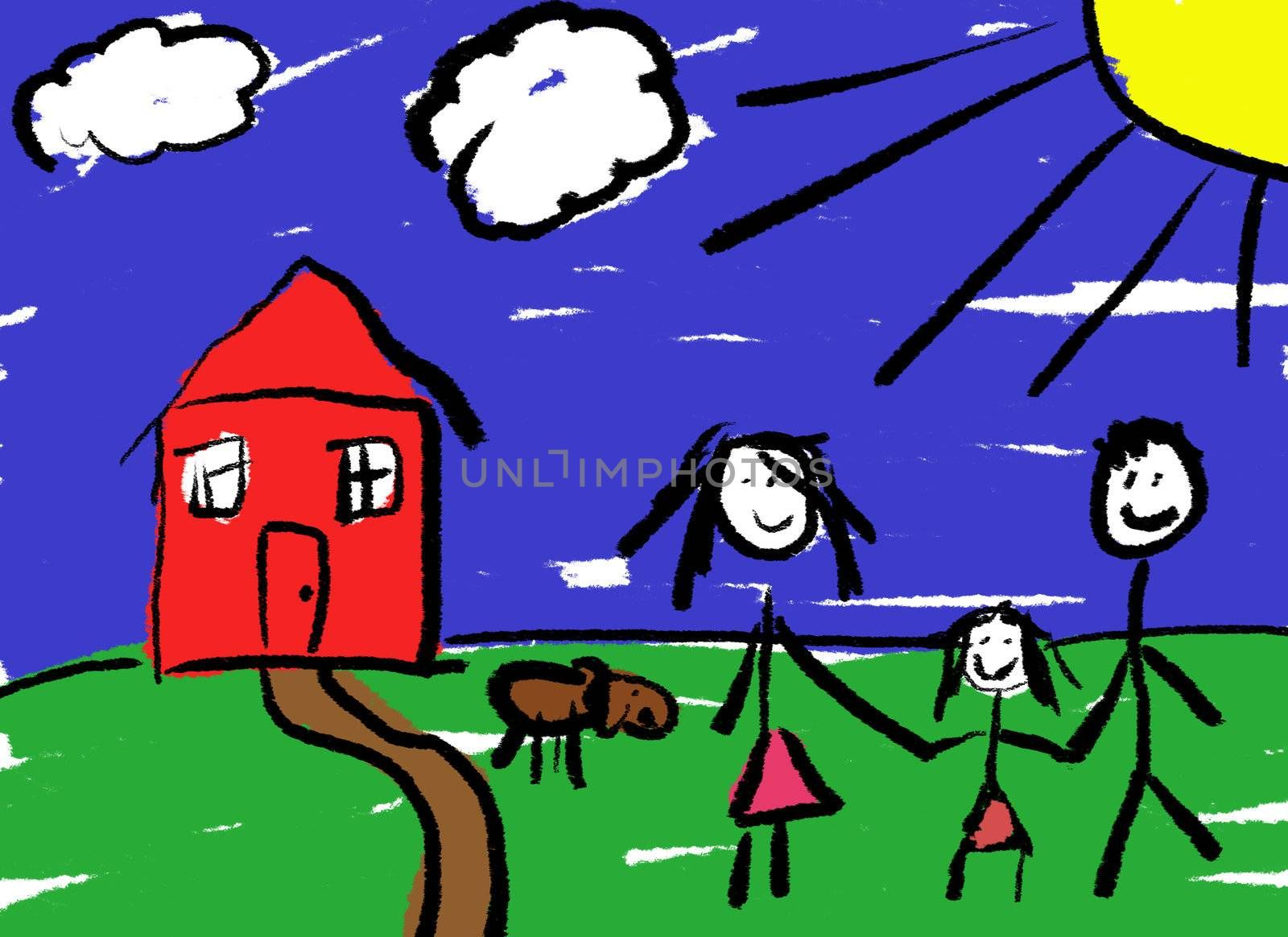 A childlike drawing of a happy family in front of their house with a dog.