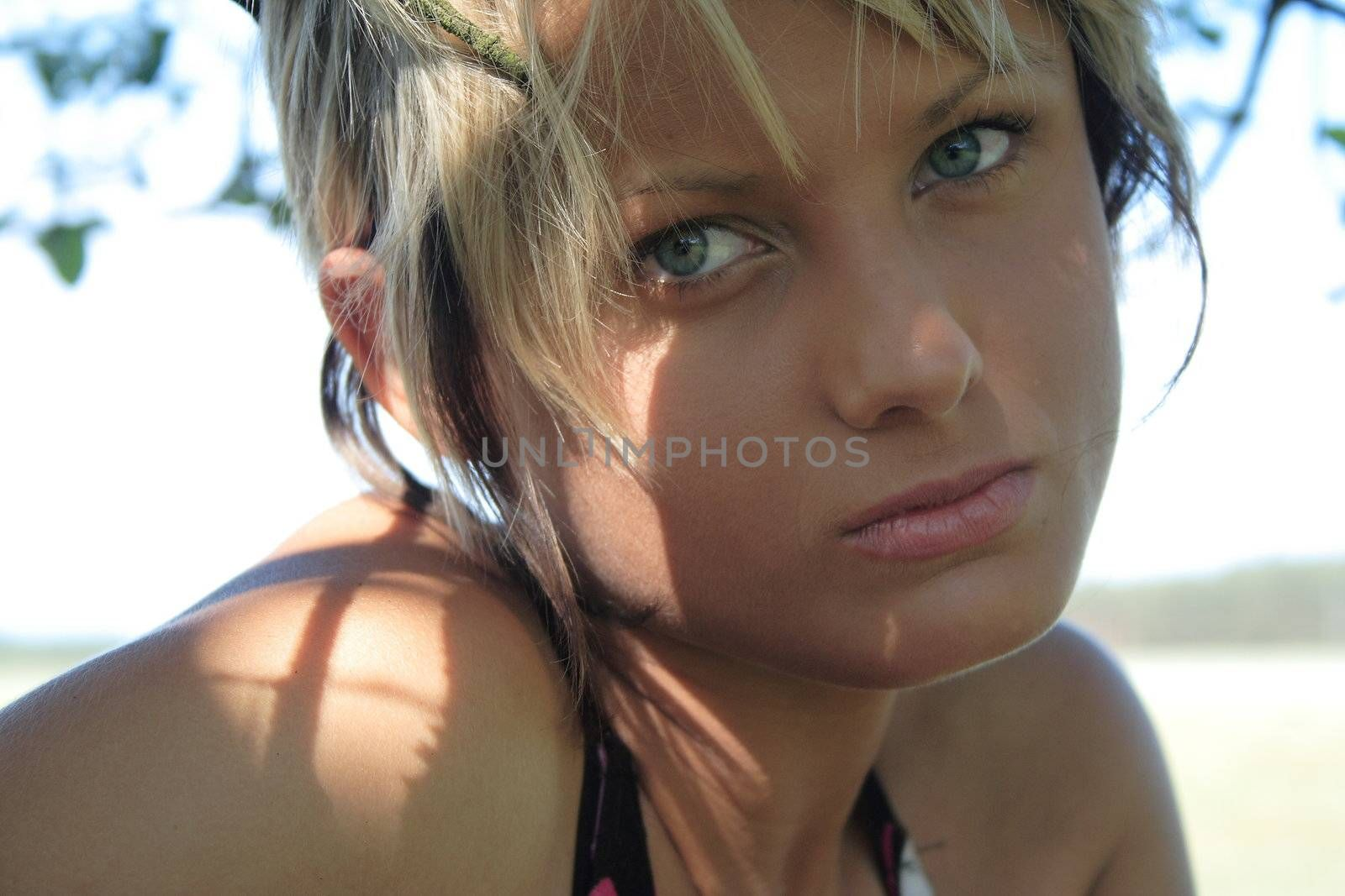 Young and beauty girl on grass