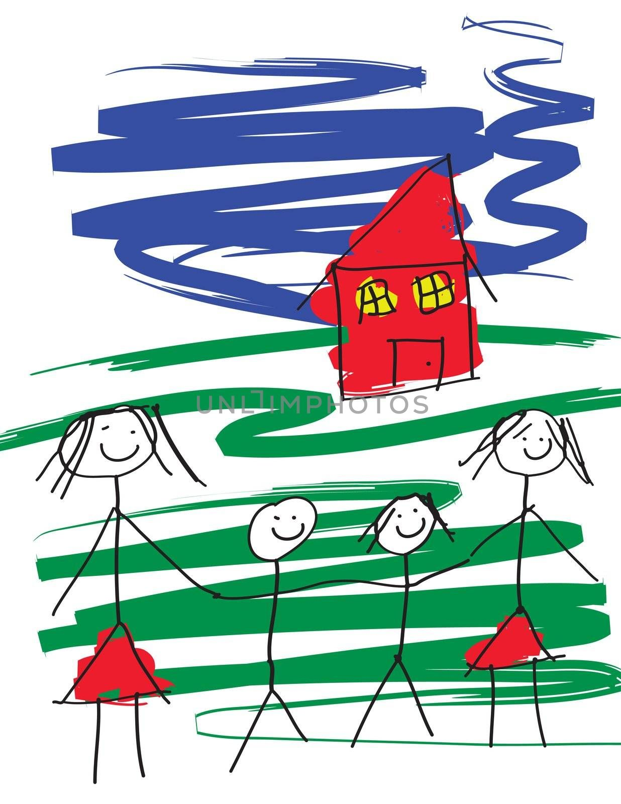 A child like drawing of a gay female pair of women with two children and a house.  The image is in eps vector format.