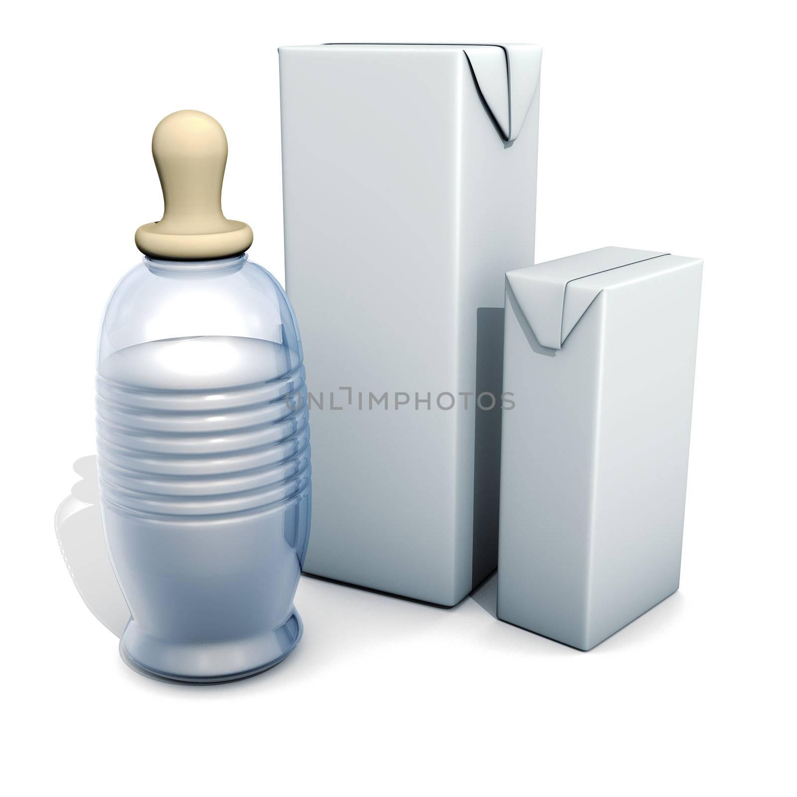 3D rendering, Baby bottle and milk box