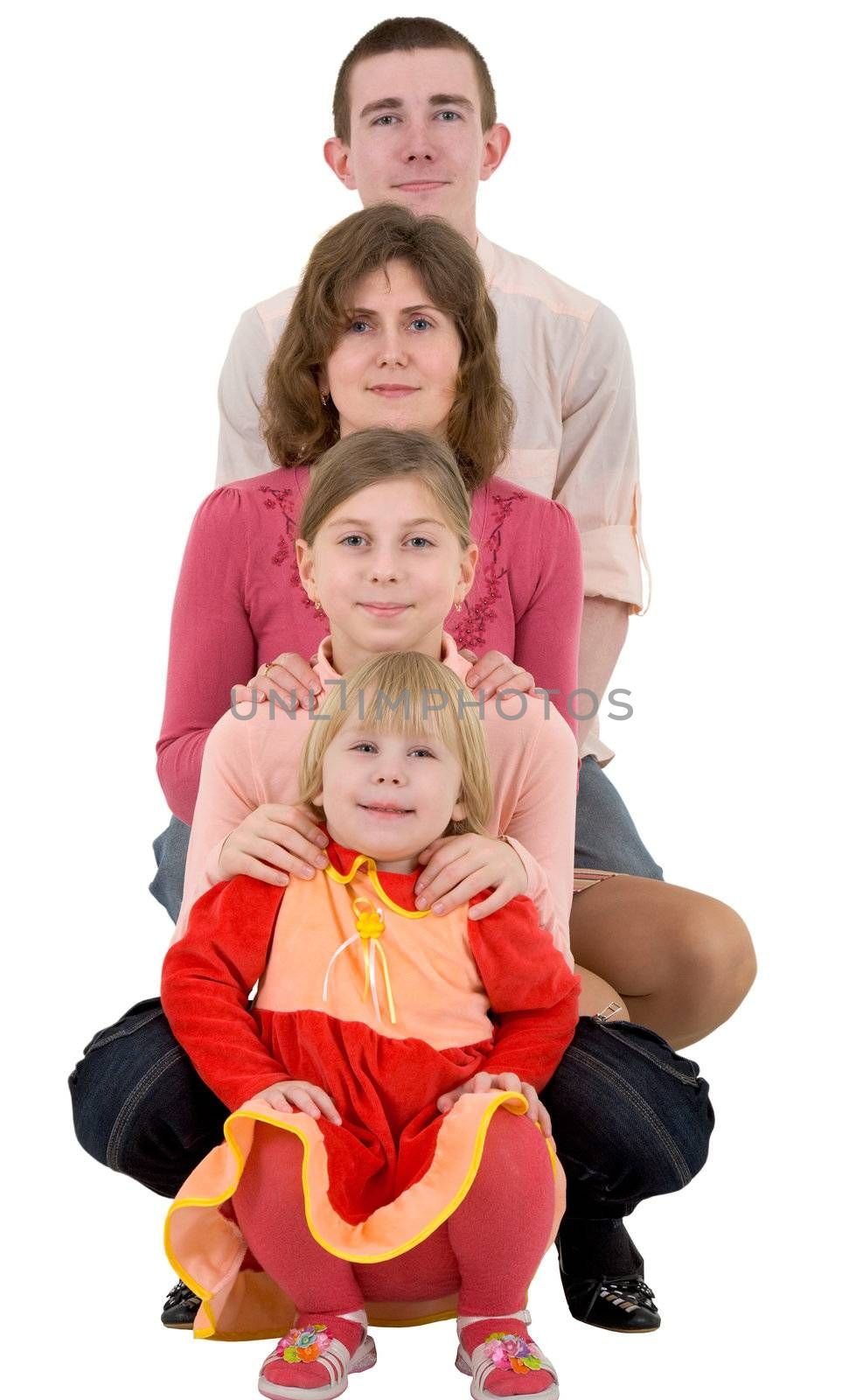 Man,women and child on a white background