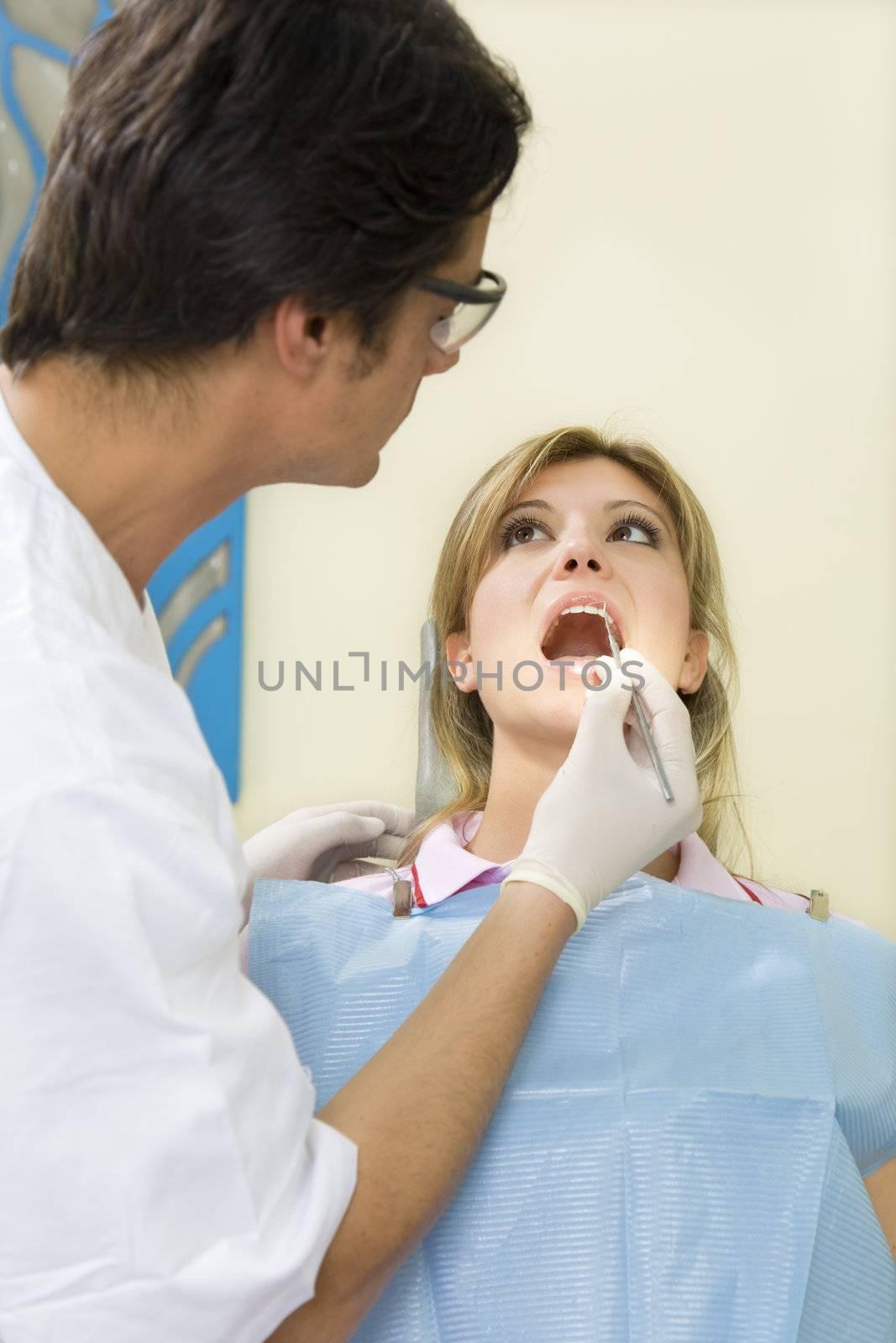 young woman doing dental checkup