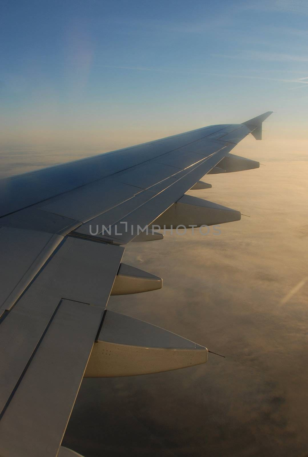 airplane wing of a public transportation airplane