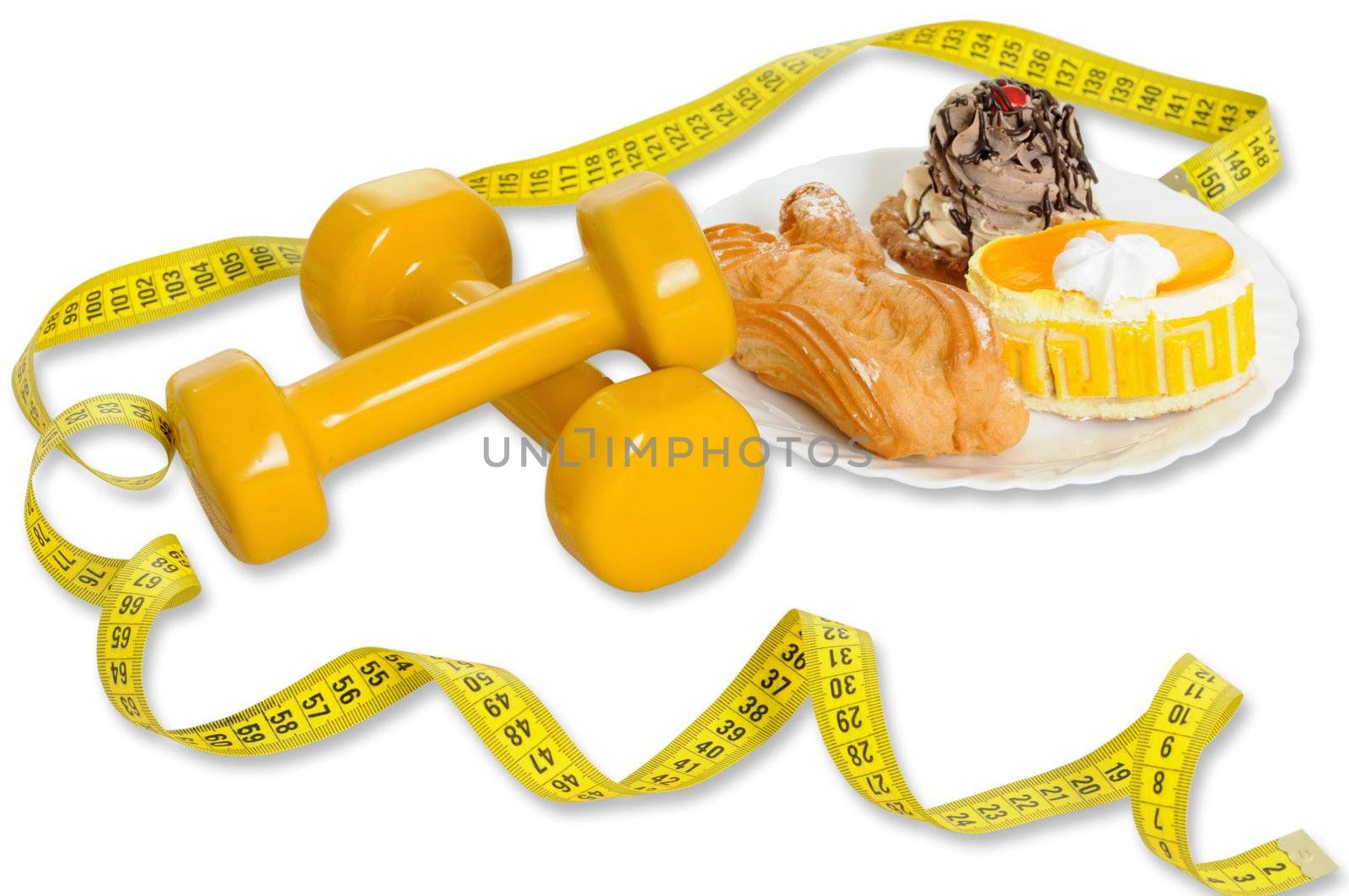 tape measure,cakes and dumbbells isolated on white background