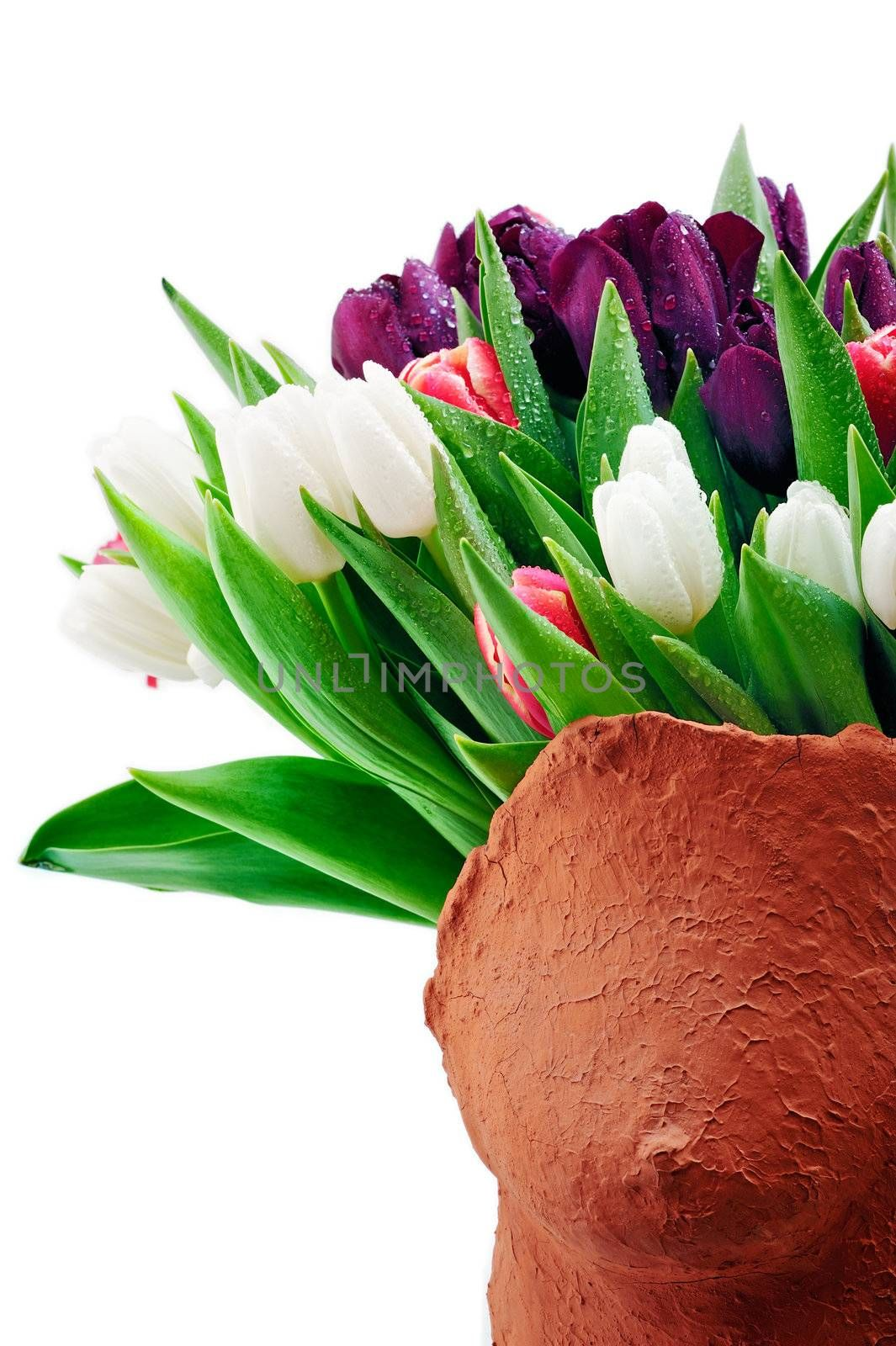 Bouquet of colorful tulips in ceramic form