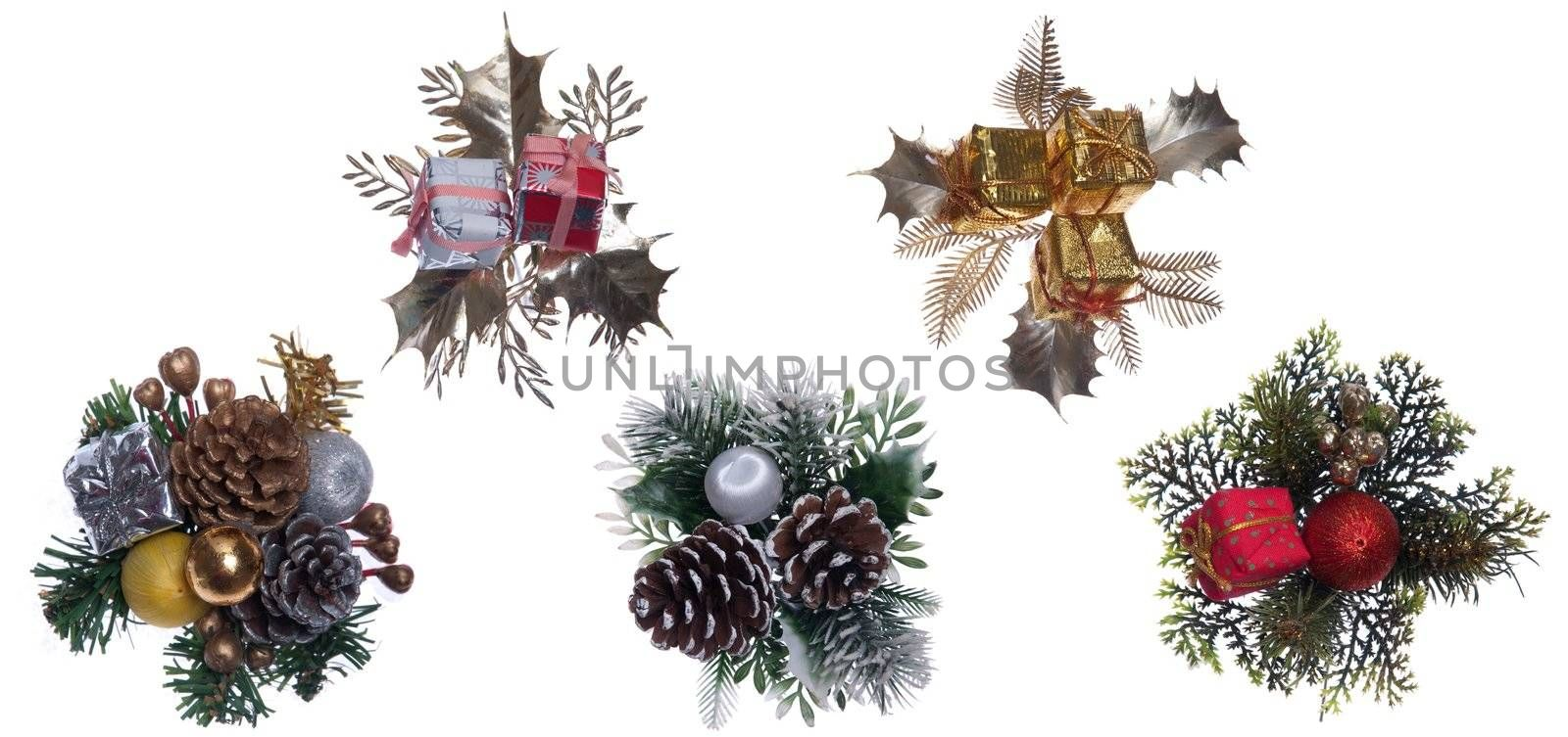 beautiful collection of Christmas decorations isolated on white background
