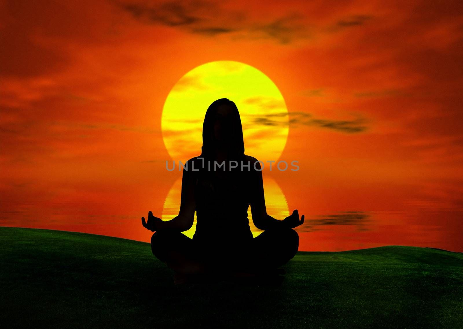 Woman silhouette making yoga at the sunset  (background digitally created)