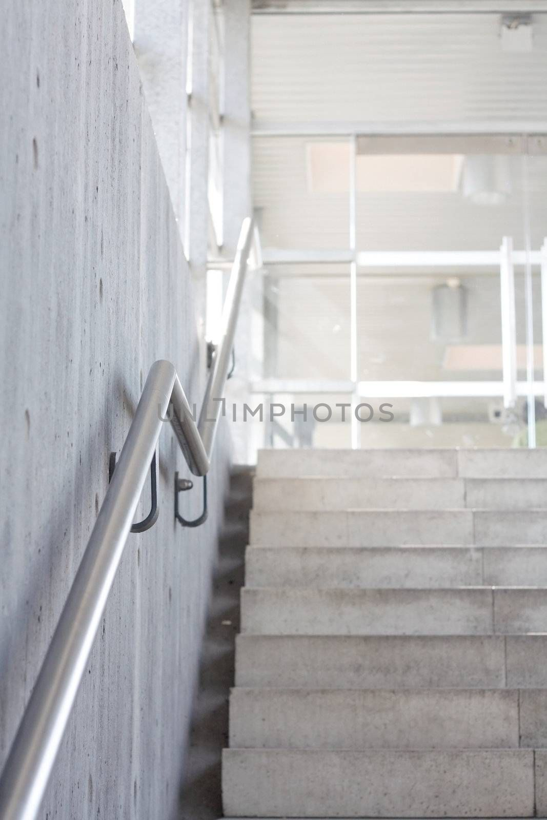 Stairs in a public transportation building