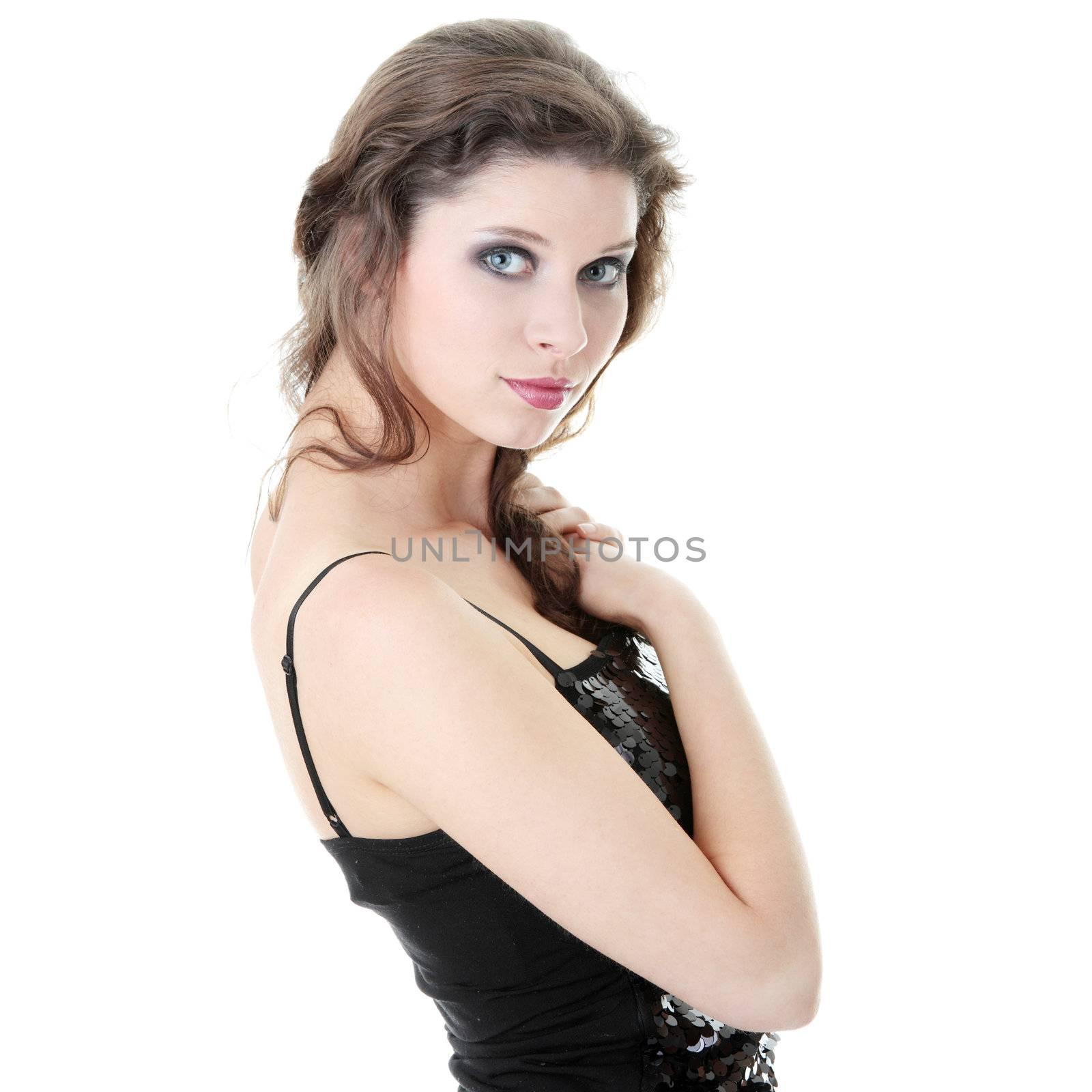 Catwalk fashion model isolated on a white background