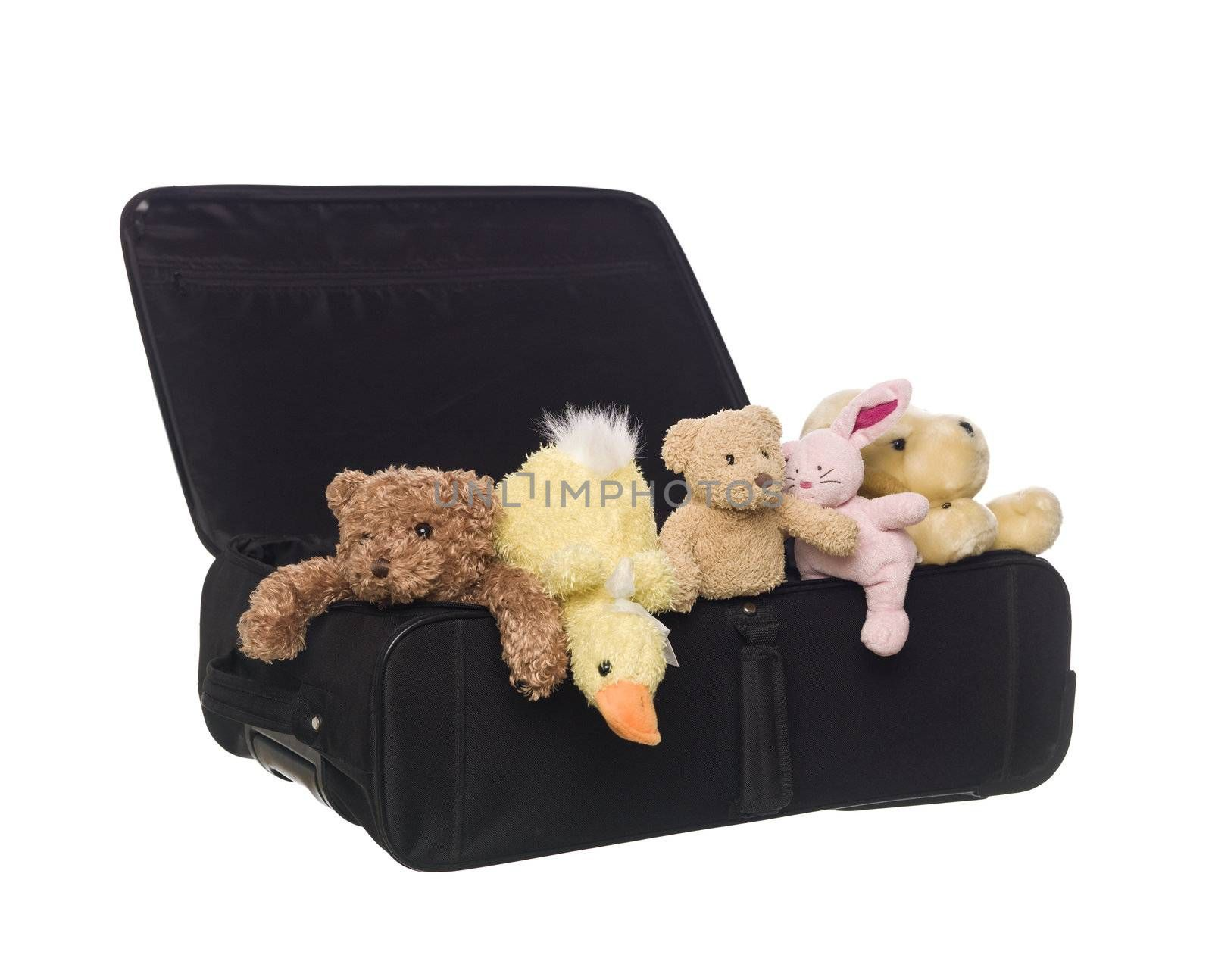 Suitcase with Toy Animals isolated on white background
