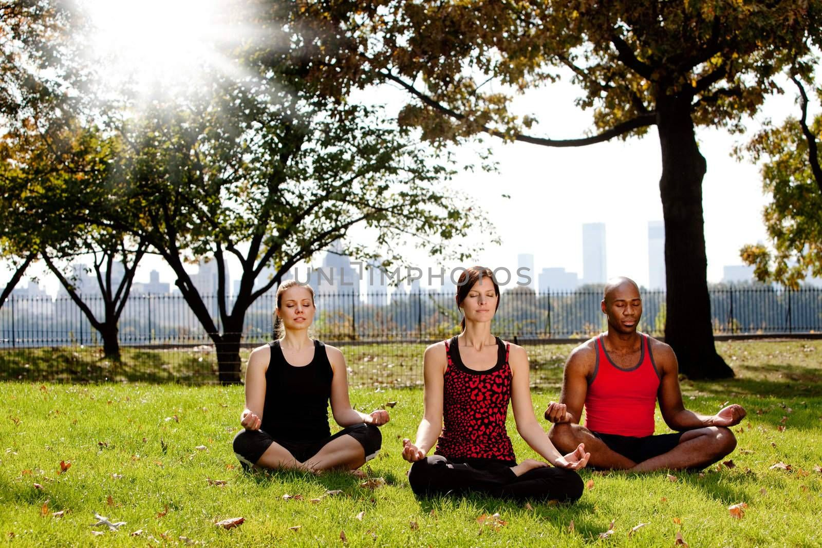 A group of people meditation in a city park