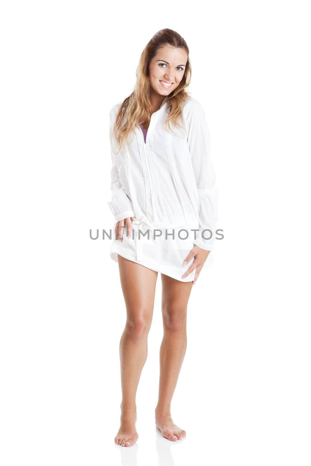 Young attractive woman isolated on white background
