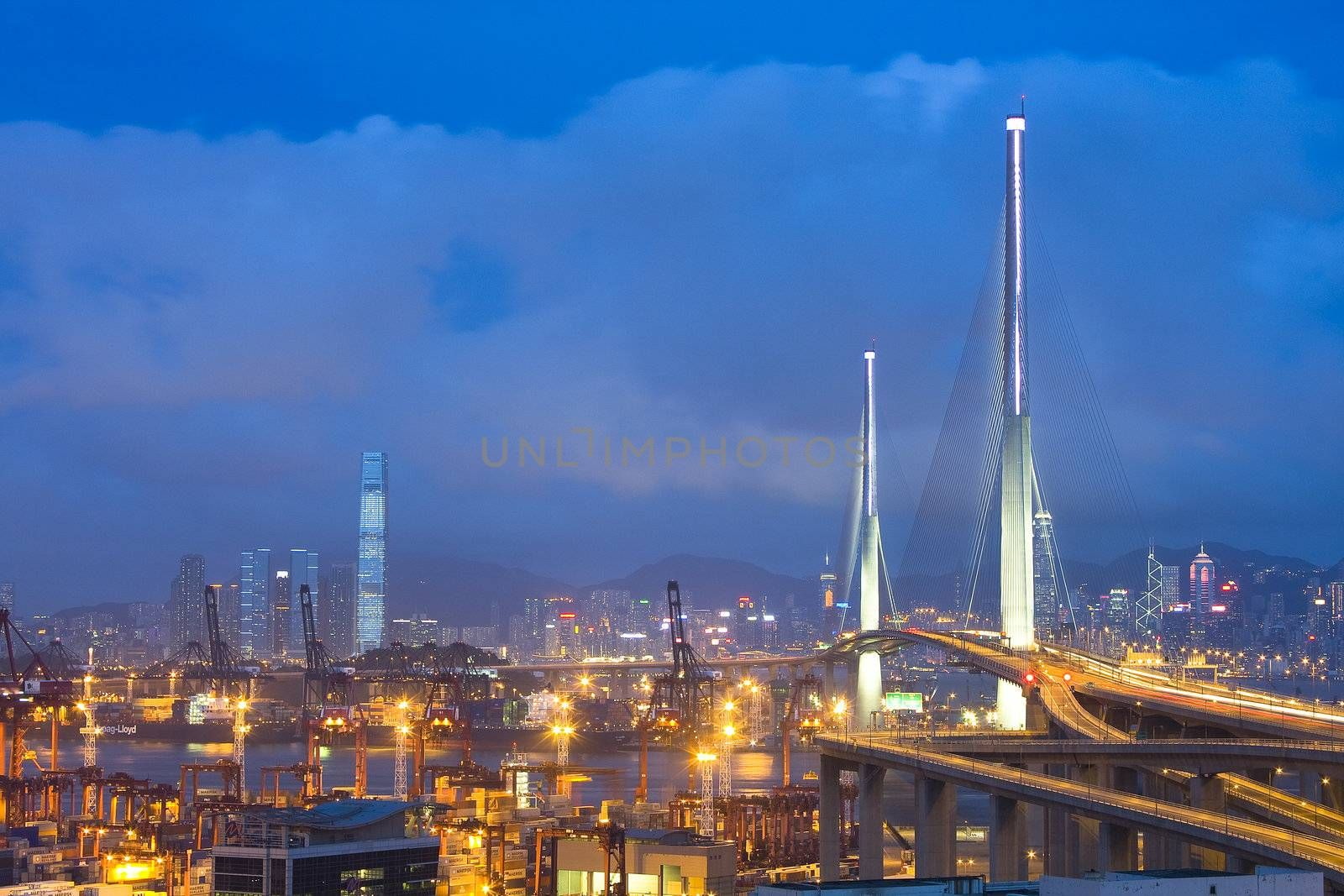Hong Kong Bridge of transportation at night