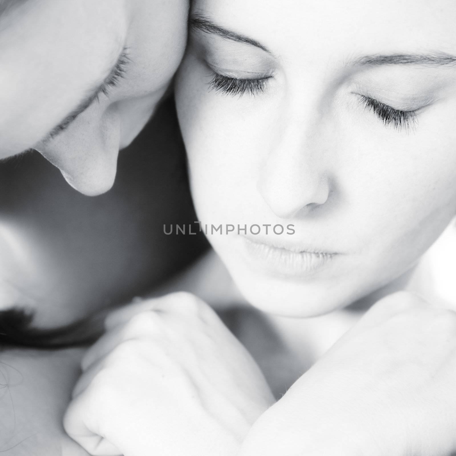 two beauty girlfriends in lingerie in the photo studio