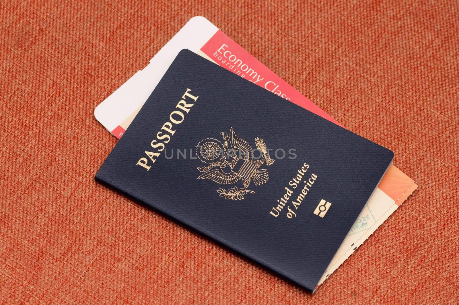 Passport and ticket concept of travel and vacation