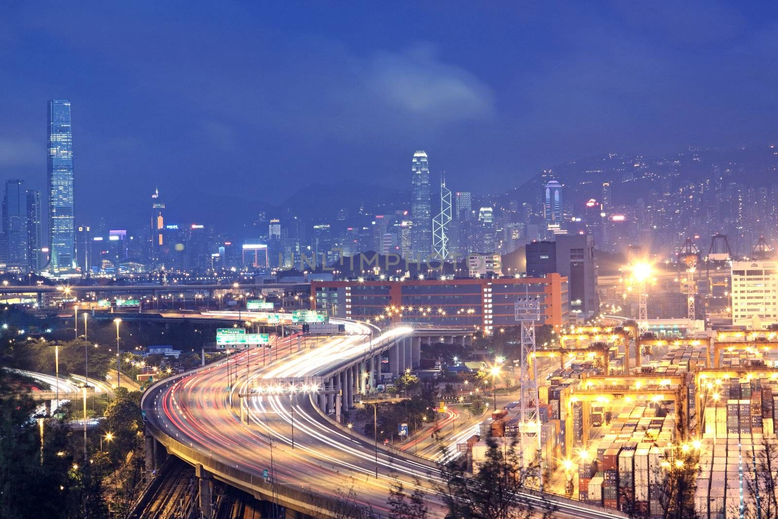 Hong Kong Bridge of transportation , container pier