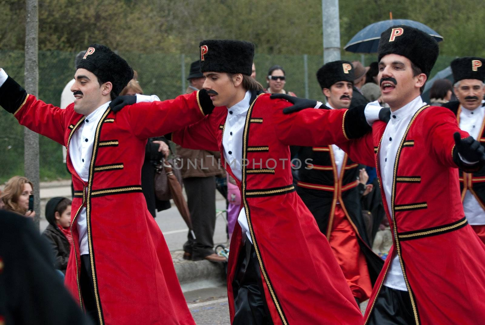OVAR, PORTUGAL - MARCH 8: Group 'Pinguins'  during the Carnival Parade on March 8, 2011 in Ovar, Portugal.