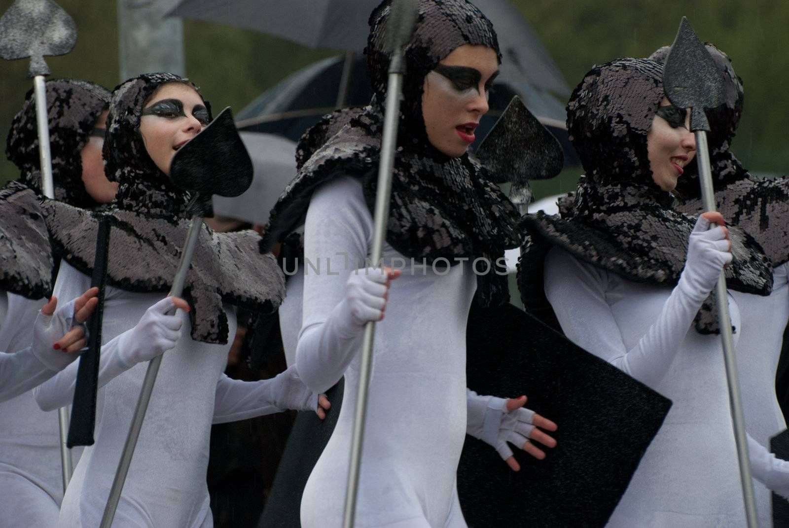 OVAR, PORTUGAL - MARCH 8: Group 'Bailarinos'  during the Carnival Parade on March 8, 2011 in Ovar, Portugal.