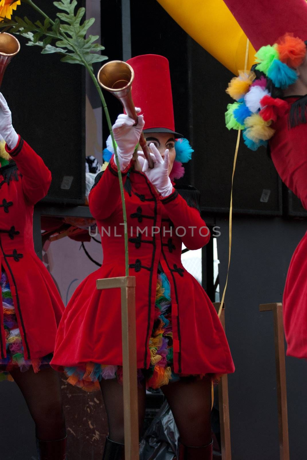 OVAR, PORTUGAL - MARCH 8: Group 'Palhacinhas'  during the Carnival Parade on March 8, 2011 in Ovar, Portugal.