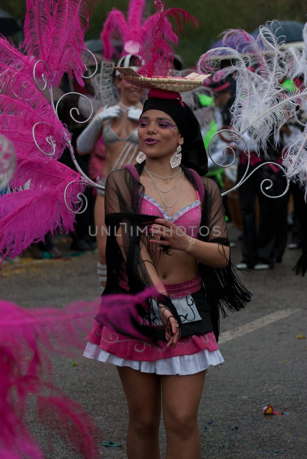 OVAR, PORTUGAL - MARCH 8: Group 'Escola de Samba Juventude Vareira'  during the Carnival Parade on March 8, 2011 in Ovar, Portugal.
