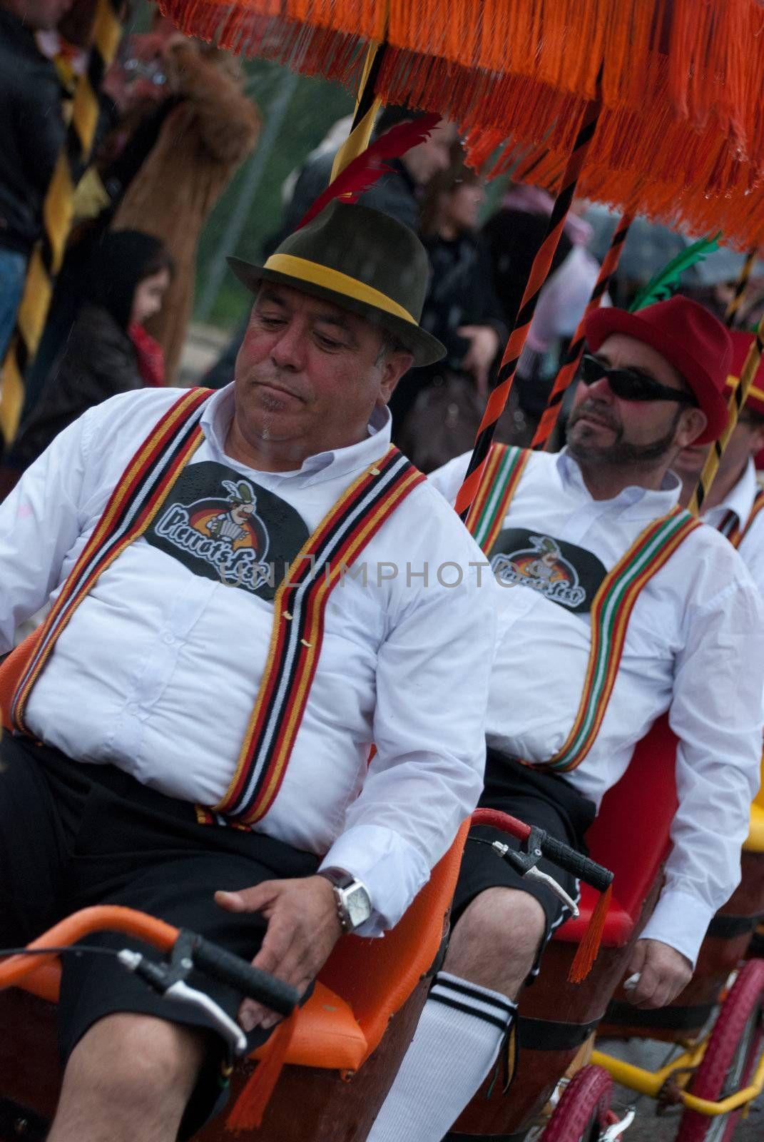 OVAR, PORTUGAL - MARCH 8: Group 'Pierrots'  during the Carnival Parade on March 8, 2011 in Ovar, Portugal.