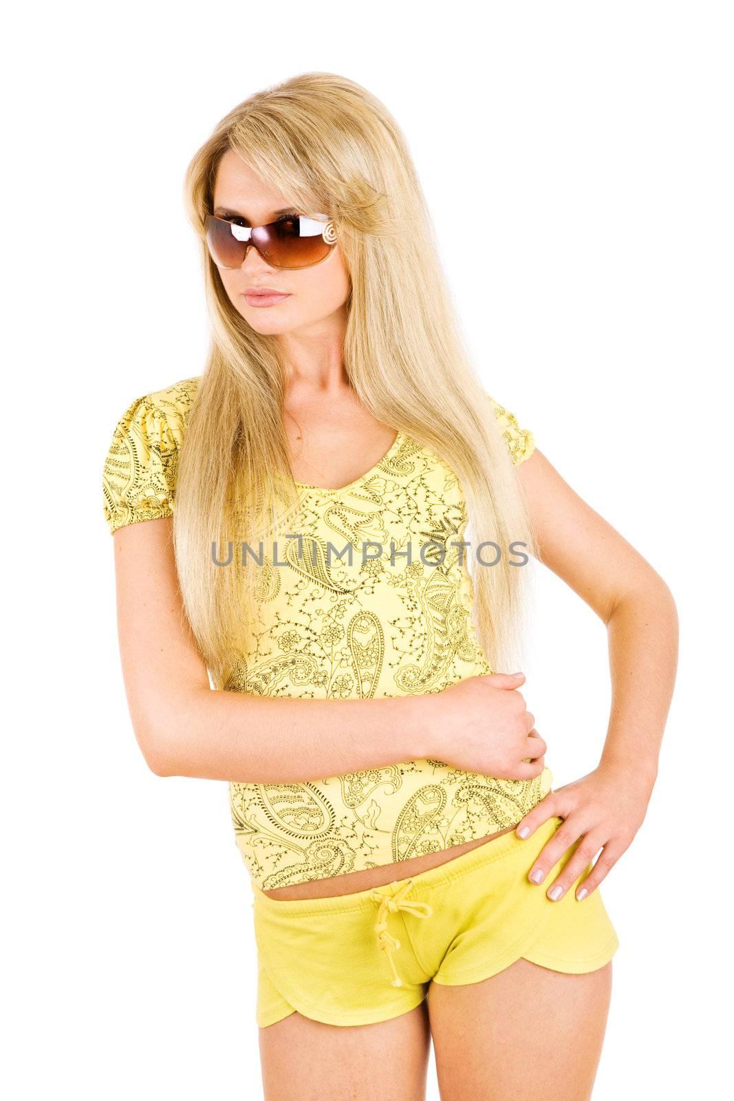beauty blond in sunglasses
