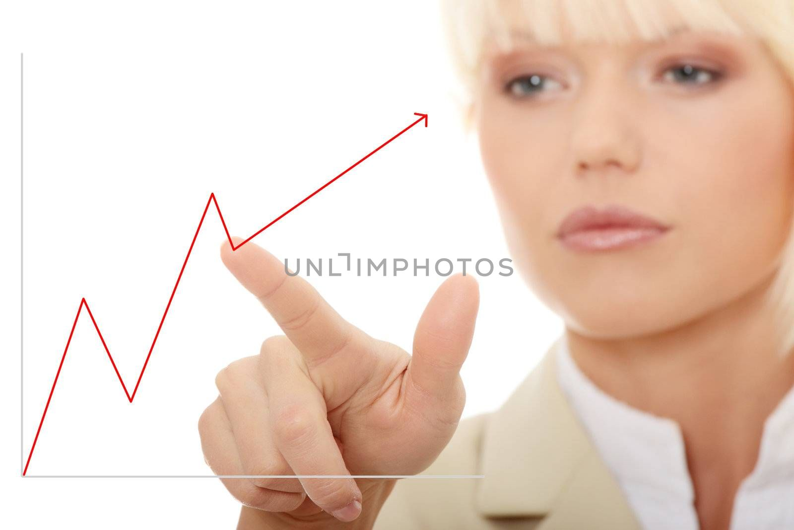 Young beautiful businesswoman making choose on abstract screen ,Over abstract blue background